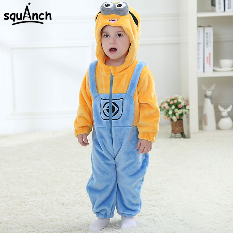 Baby Bodysuit Minions Kigurumi Anime Cartoon Cosplay Costume Infant Onesie Winter Sleep Play Game Jumpsuit Funny Pajama Flannel