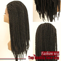 Fantasy Full Twist Braided Wigs Heat Resistant Synthtic Brazilian Hair Lace Front Wigs Wholesale Wig For Women Glueless Lace Wig