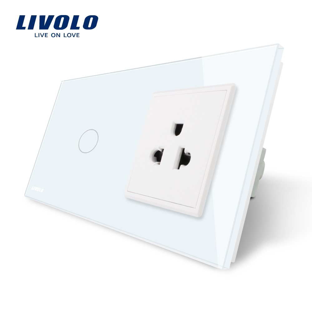 Livolo Touch Switch&US Socket,White Crystal Glass Panel, AC 110~250V,16A US Wall Socket with Switch,VL-C701/C7C1US-11/12 livolo us standard base of wall light touch screen remote switch ac 110 250v 3gang 2way without glass panel vl c503sr