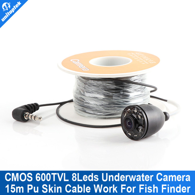 8Pcs Led Light Fishing Breeding Monitoring 600TVL Camera With 15M Cable Work For New 3.5 Inch LCD Underwater Video Camera System