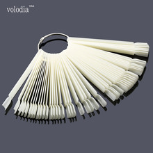 50 Pcs Flase Nail Tips Color Display Chart With Rings Natural Clear Color Nail Art Fan Wheel Polish Gels Practice Tip Sticks