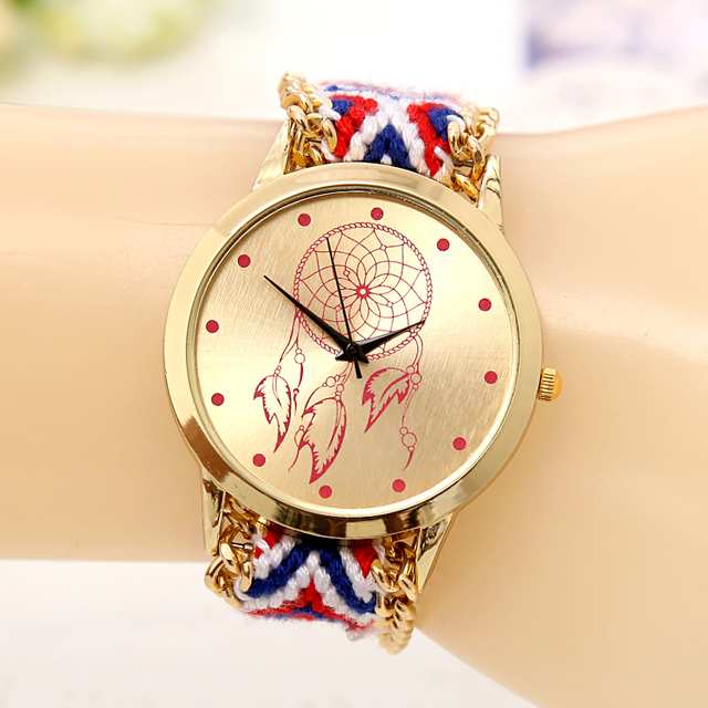 2017 new brand mori girl style women wristwatch gold dress watch handmade braided friendship for Watches brands for girl