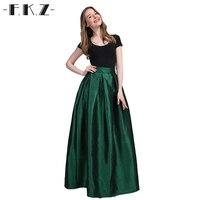 FKZ 2017 New Summer Long Maxi Women Summer Skirts Faldas High Waist Pleated Womans Jupe Female