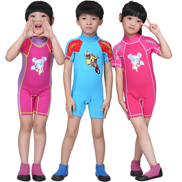 d43389c317 DiveSail kids boys girls shorty rash guard suit 1.5MM neoprene skin dive  swimsuit children swimming surf with back zipper