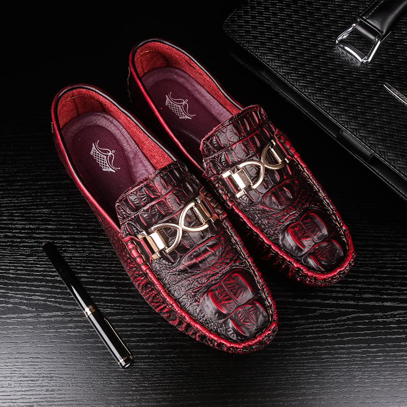 mens breathable office party dress soft genuine leather summer shoes teenage slip on driving shoe alligator skin loafers oxford men s leisure stage nightclub velvet leather shoes breathable summer slip on driving flat oxfords shoe teenage young loafers man