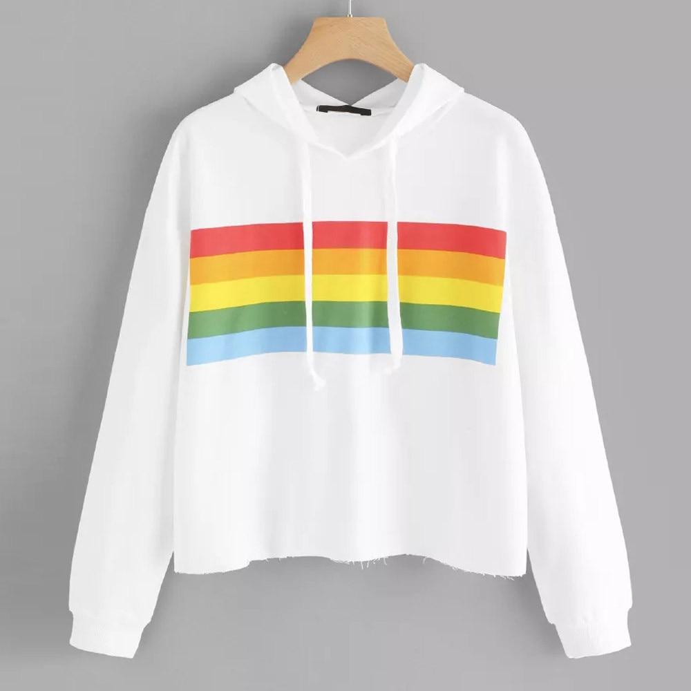 Rainbow Striped Print Hoodie Women White Long Sleeve Hooded Sweatshirt LGBT 2019 Fall Drawstring Hoodies blouse