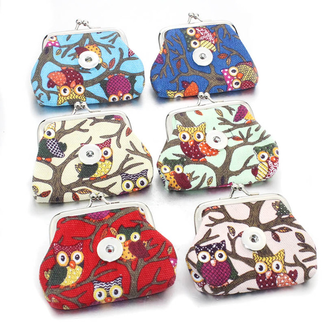2 Pcs Lot 18mm Owl Snap Ons Jewelry Coin Purses Small Wallets Pouch Women S Money