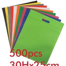 Акция 30 H* 25 см маленький размер черный не тканый упаковочный пакет с 1 цветной печатный персональный логотип