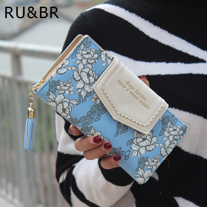 RU&BR PU Leather Women Wallets Flower Design Printed Dollar Price Card Holder  Clutch Bag Carteira Feminina Wallet Coin Purse women wallet 2017 high quality leather dollar price women purse card holder female purse with phone holder carteira feminina