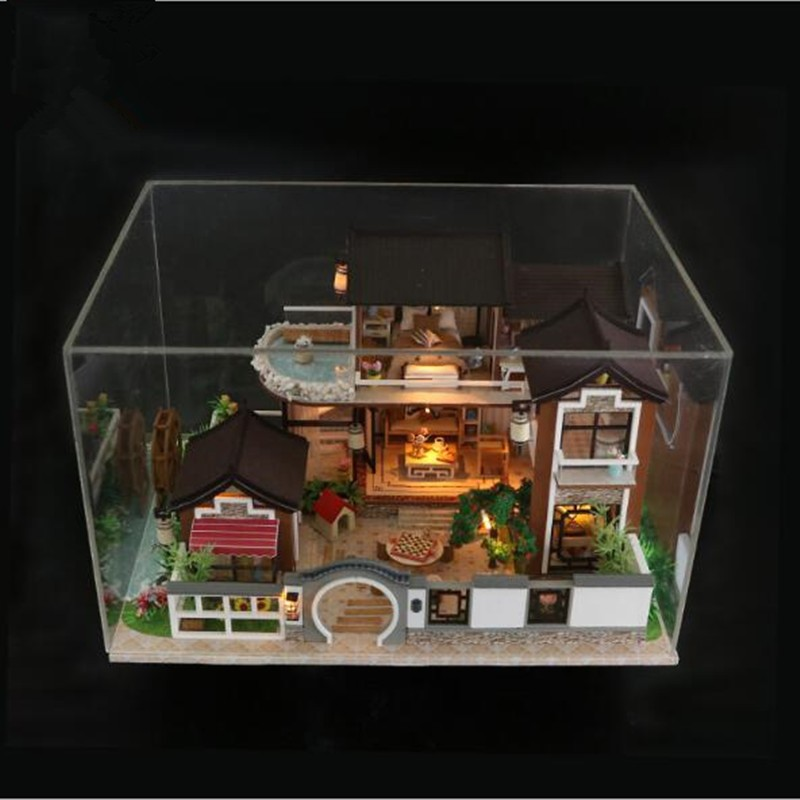13848 Large Wooden Doll House Miniature Diy Dollhouse With