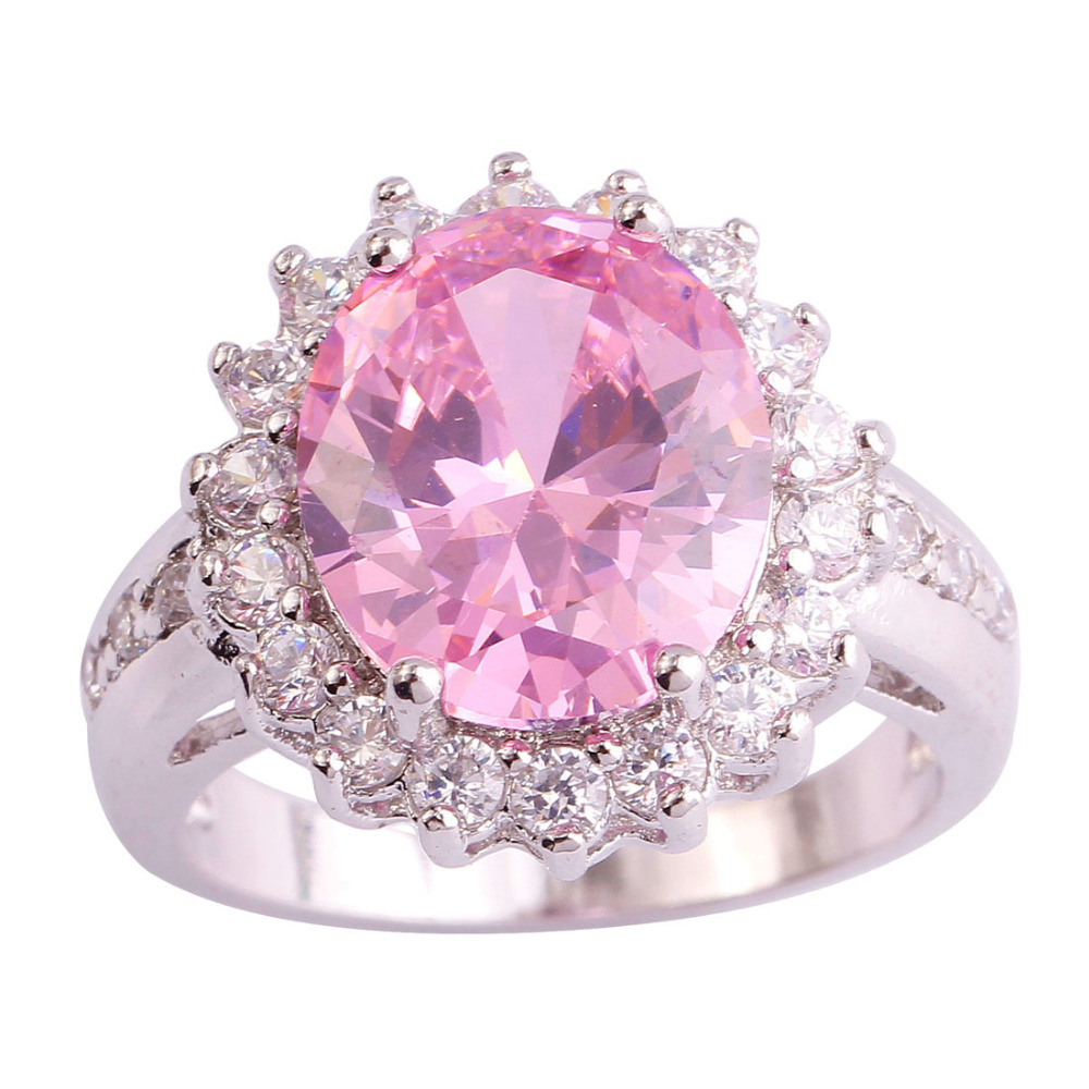Factory direct selling AAA CZ Lab pink Topaz Silver 18K White Gold Plated Ring Size 6 7 8 9 10 Wholesale Free Shipping For Women
