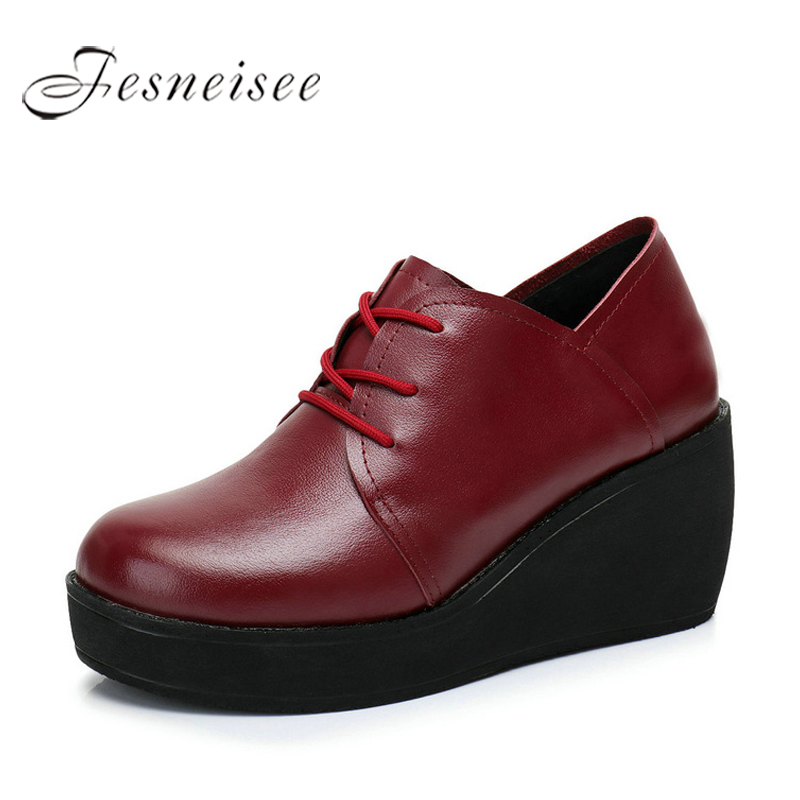2018 New Spring Autumn Women Shoes Woman Genuine Leather Wedges Snow Boots Height Increasing Ankle Women Boots Size 35-40 M4.0 стоимость