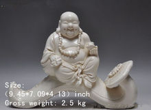 Chinese Dehua White Porcelain wealth ruyi Happy Laugh Maitreya Buddha Statue