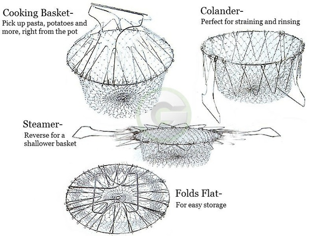Foldable Fry French Basket Strainer useful gadgets