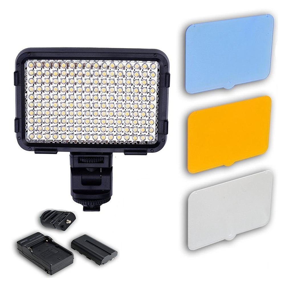 XT-160II LED Video Lamp Photography Light with Battery 160les for All Standard ISO 518-2006 Hot Shoe Cameras Canon, Nikon