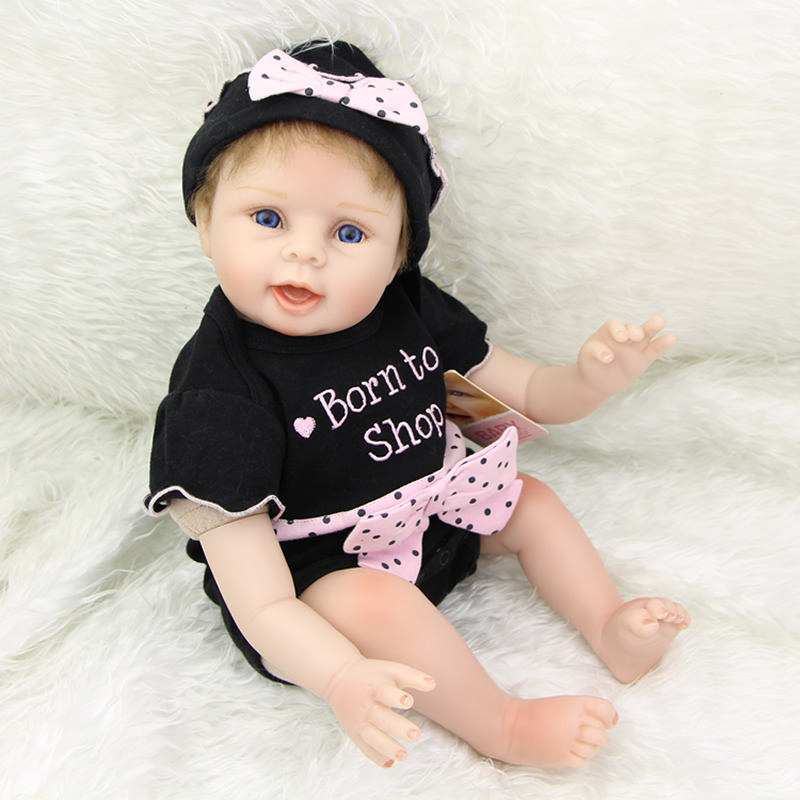 цены 22 Inch Lifelike Reborn Silicone Baby Dolls Soft Realistic Lovely Newborn Girl Babies Children Birthday Xmas Gift
