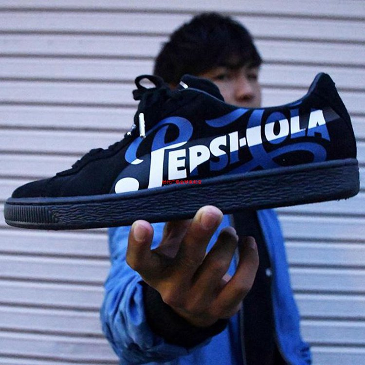 Puma Suede Classic X PEPSI Black WHite Blue Mens Shoes Limited Edition  Skateboarding Shoes Lace-up Unisex Sneaker Pro Sport Shoe 60a4a954c
