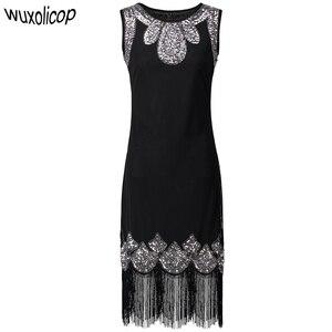 Image 1 - Vestido pequeño negro elástico Midi para mujer, Vestido Vintage con cuentas y flecos, Vestido de aleta de lentejuelas, Túnica Gatsby 1920s
