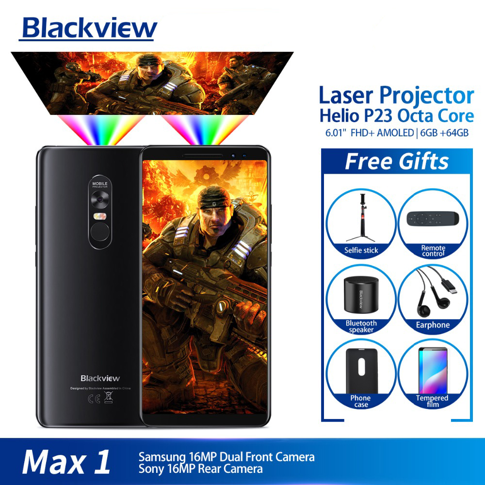 Blackview MAX 1 Projector Mobile Phone AMOLED 4680mAh Android 8.1 Mini Projector Portable Home Theater 6GB+64GB Smartphone MAX1