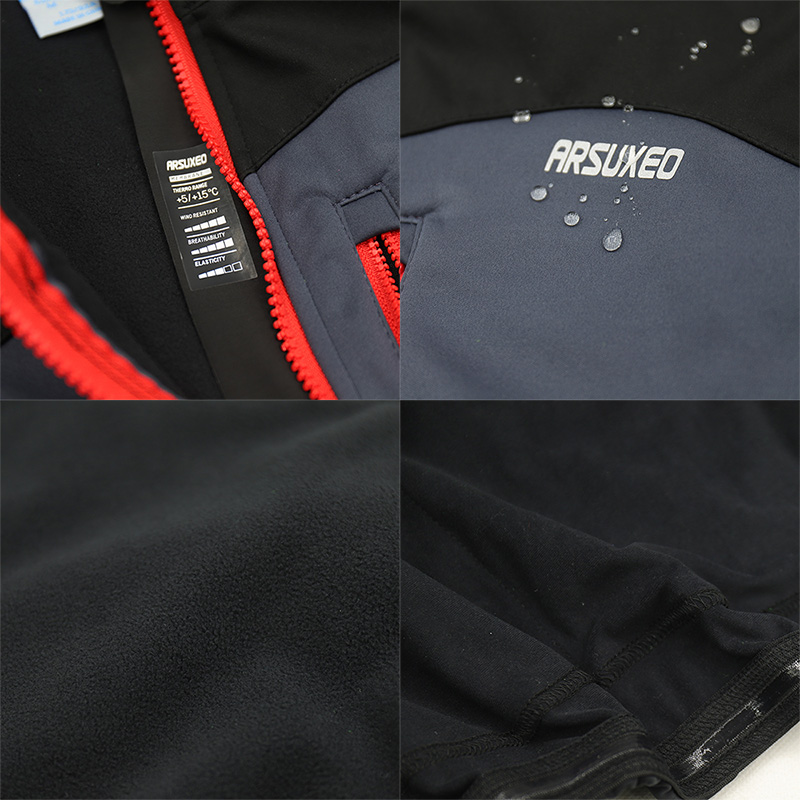 Купить с кэшбэком ARSUXEO Winter Thermal Fleece Windbreak Waterproof Reflective Cycling Jacket  MTB Bike Windproof  Cycling Clothing Bicycle Coat