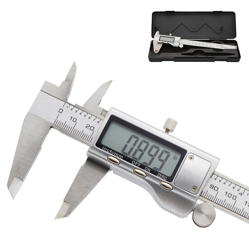 eSynic Digital Caliper 150mm//6Inch Solar Power Vernier Caliper Stainless Steel Electronic Caliper Inch//Metric//Conversion Measuring Tool for Length Width Depth Inner//Outer Diameter