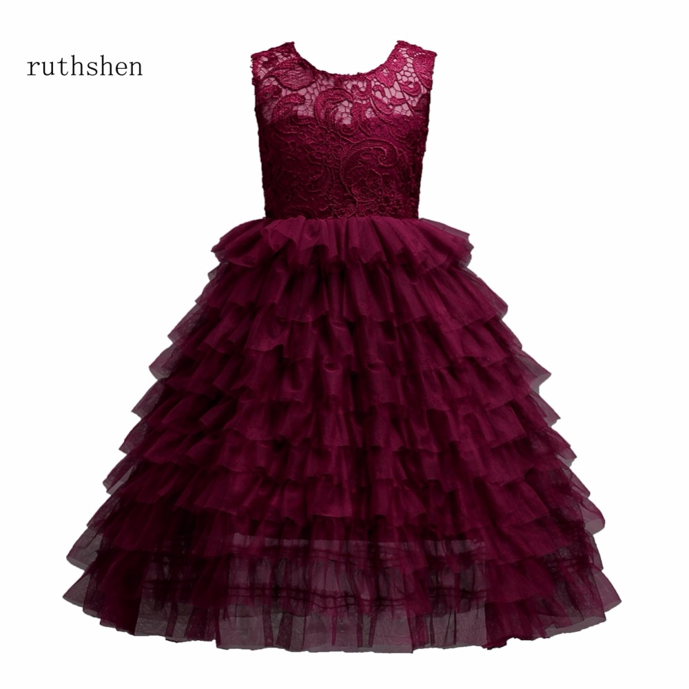 ruthshen In Stock Ruffle Lace   Flower     Girls     Dresses   Vestidos Ball Gown For Special Occasions Weddings Party   Dresses   2018