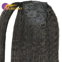 Moresoo, кудрявые прямые волосы для наращивания в виде конского хвоста, машинка для наращивания, Remy, бразильские человеческие волосы на заколках, черные волосы,# 1B, 100 г