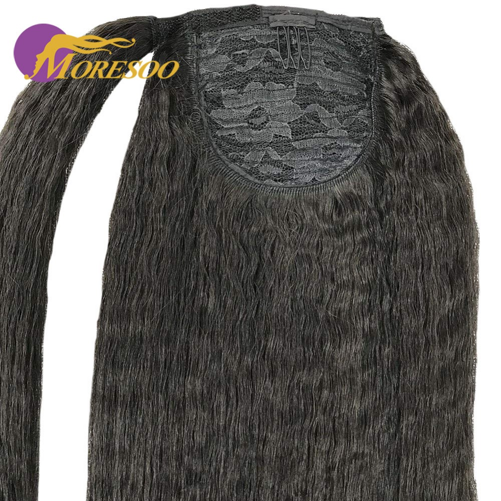 Moresoo Kinky Straight Ponytail Hair Extensions 100 Real Remy Brazilian Human Hair Clip Human Hair Off Black Color 1B 100g