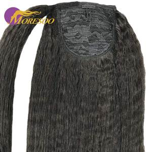 Moresoo Kinky Straight Ponytail Hair Extensions Machine Remy Brazilian Human Hair Clip Human Hair Off Black Color #1B 100g