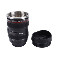 Creative Camera Lens Mug Cup Plastic Travel Coffee Tea Mugs With Lid Stainless Steel Cups Milk Thermal 24-105mm