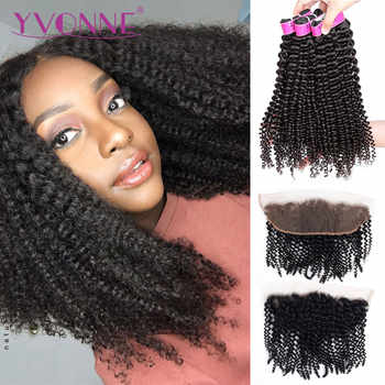 Yvonne 4A 4B Brazilian Kinky Curly Human Hair Frontal With Bundles Virgin Hair Weave 3 Bundles With Frontal 13*4 - DISCOUNT ITEM  48% OFF All Category