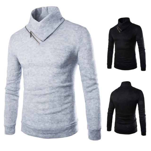 2016 New Men Zipper Collar Head Sweater Slim Shirt Fashion Cool Popular M-XXL Size Free Shippoing