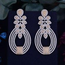 GODKI 65mm Luxury Popular Flower Full Mirco Paved Cubic Zircon Naija Wedding Earring Fashion Jewelry