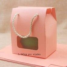 Feiluan 50 adet boş kağıt sapı hediye kutusu ile kalp/dikdörtgen pvc pencere kutusu hediye/şeker/düğün favor ekran kutusu çantası