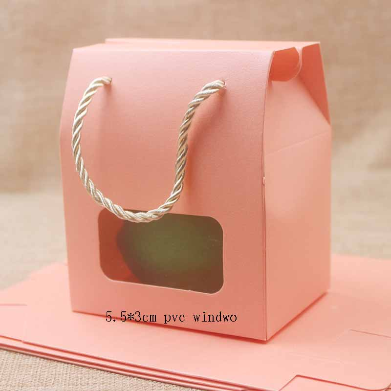 Feiluan 50pcs Blank Paper Handle Gift Box With Heart /retangular Pvc Window Box Gifts /candy/wedding Favor Display Box Bag
