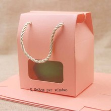 Feiluan 50pcs blank paper handle gift box with heart /retangular pvc window box gifts /candy/wedding favor display box bag
