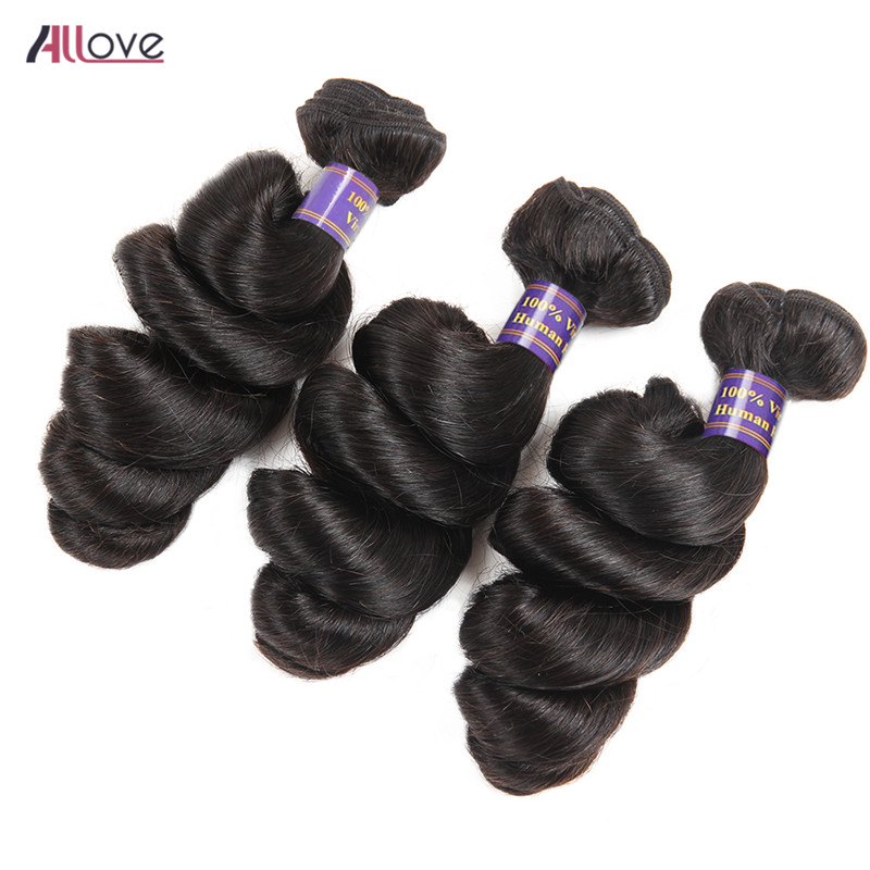 Allove Loose Wave Hair Bundles Mongolian Hair Weave 8-28 Inch Natural Color Remy Hair Extensions 100% Human Hair 3 Bundles Deal