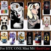 Para htc one mini m4 601e caso de plástico rígido móvel Caso Da Tampa do telefone DIY Cor Paitn Celular Saco Shell Grátis livre