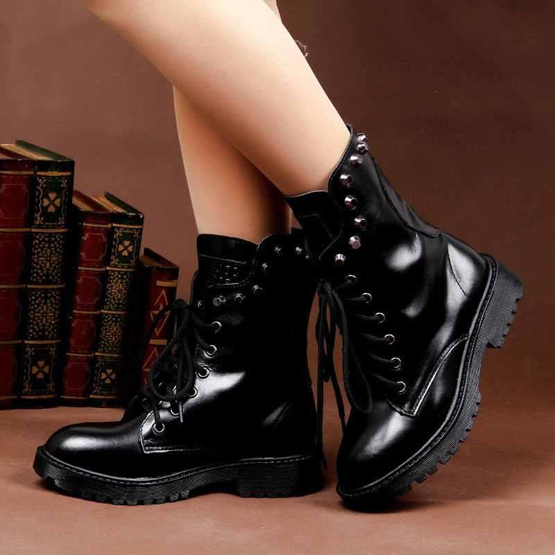 Frauen Stiefeletten Aus Echtem Leder DR Spike Dropshipping mit Pelz Winter Stiefel Schuhe Warme Frauen martin stiefel