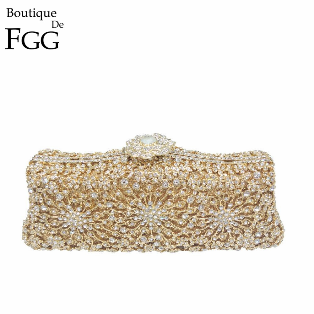 Women Crystal Hollow Out Clutch Floral Appliques Metal Clutches Wedding Bridal Hand Bags Diamond Gold Hard Case Evening Bag gold plating floral flower hollow out dazzling crystal women bag luxury brand clutches diamonds wedding evening clutch purse