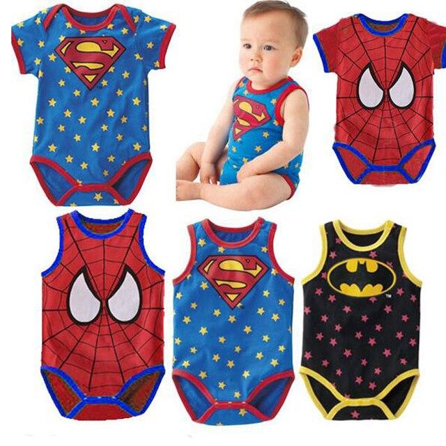 820b8177d Summer Baby Bodysuits Sleeveless O-Neck Baby Boys Clothes Batman Superman  Cartoon Baby Carter Jumpsuits Bebes Children Clothing