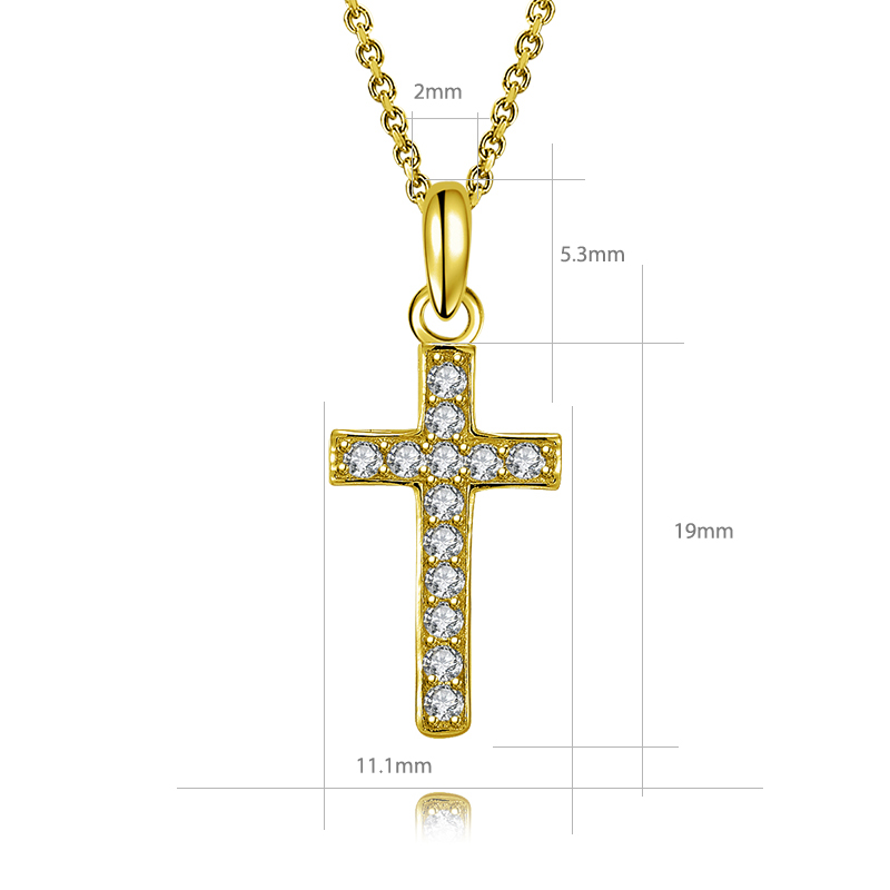 Fine 10k Yellow Gold Rounded Small Cross Pendant Necklace