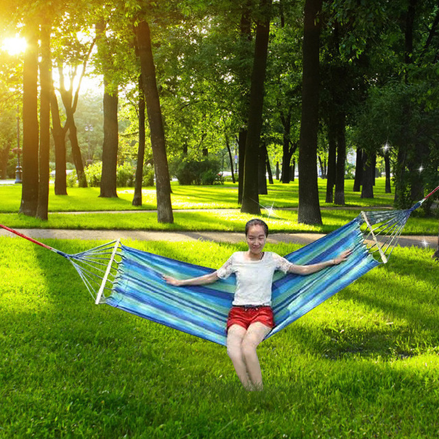 200 X 80cm Canvas Fabric Double Outdoor Hammocks Spreader Bar Hammock Garden Camping Swing Hanging Bed