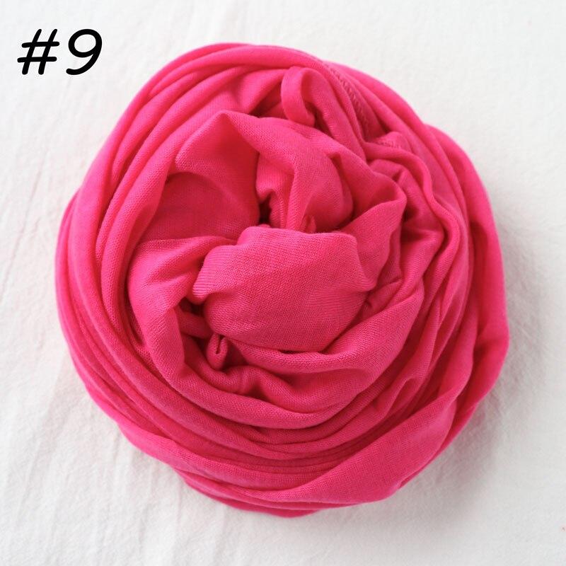 Один кусок хиджаб шарф Макси шали шарфы женские мусульманские хиджабы мусульманская леди палантин splid однотонное Джерси хиджаб 70x160 см - Цвет: 9 fushia
