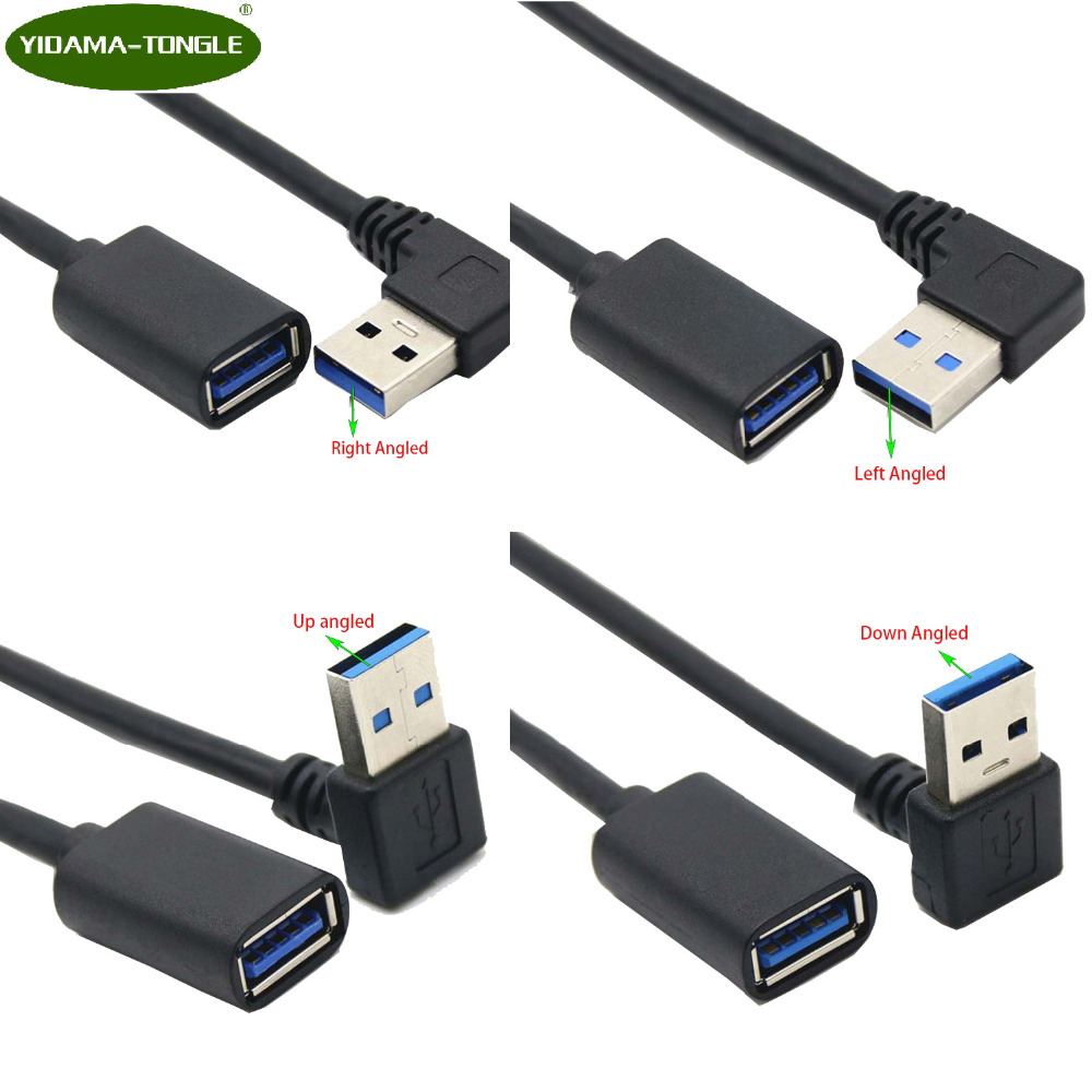 USB 3.0 Extension Cable Up Down Left Right Angle 90 Degree Male To Female Super Speed 5Gbps USB Data Sync Charging Cables