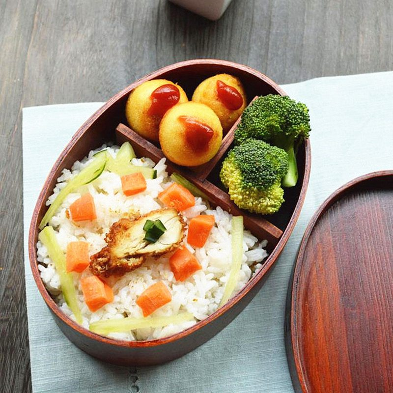 Kids School Outdoor Dinnerware Bowl Food Container Wooden Lunch Boxes for Food Japanese Style Sushi Bento Lunchbox for