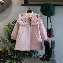 DFXD Children Outwear 2017 Fashion Korean Girls Pink Flower Embroidery Thicken Wool Coats New Winter Kids Cashmere Coat 2-8Years