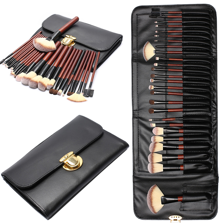 цена на At Fashion Kit Makeup Brushes Professional 26 PCS Wooden High Quality Makeup Tools Face Eye Make Up Brush Set with PU Case