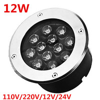12W LED underground lamps Buried lighting 12V or 110V 240V IP68 Waterproof RGB white by DHL 4pcs