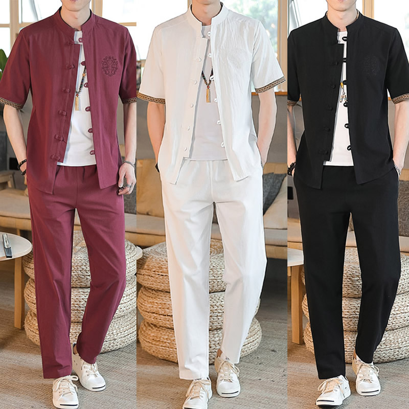 Cotton Linen Chinese Style Tang Suit Men Short Sleeved Shirts Long Pants Autumn Summer Clothes Streetwear Men's Sets